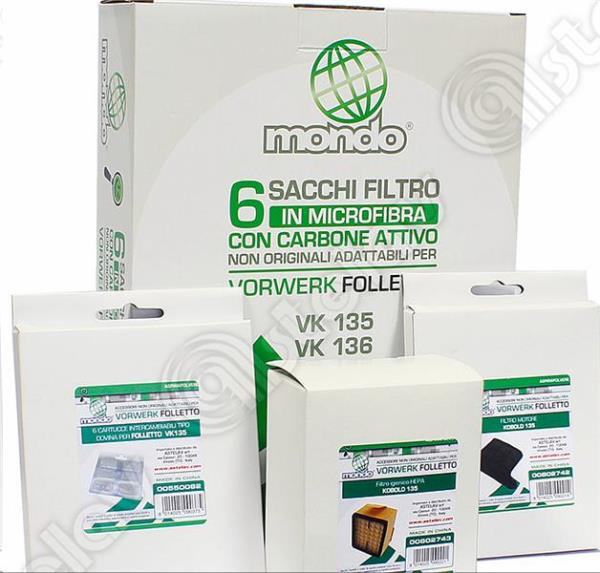 KIT SACS + FILTRES ASPIRATEUR VORWERK FOLLETTO